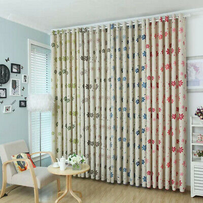 Floral Bedroom Living Room Curtain Drapes Window Blackout Shadow Baby Room