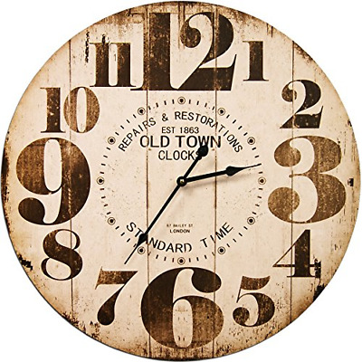 Round Off White Decorative Wall Clock With Big Numbers And Distressed Old Town x