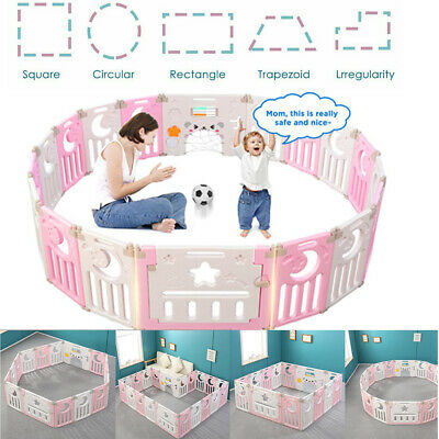 14 Panel Foldable Baby Playpen Kids Safety Fence Play Center Play Yard Play Pen