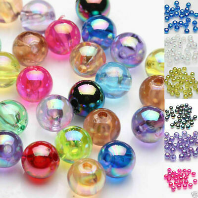 50Pcs Acrylic AB Round Loose Spacer Beads Jewelry Finding Accessories DIY 8mm