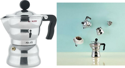 Alessi 3-Cup Moka Espresso Coffee Maker with Thermoplastic Resin Handle and...