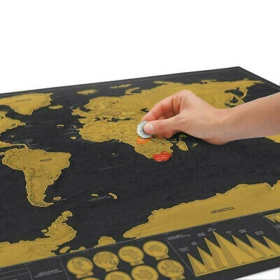 Scratch Off Map of the World Poster Wallpaper Travel Log Country Flag Map Best!