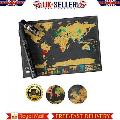 Luxury Scratch Off World Map Deluxe Edition Travel Log Journal Poster Wall Decor
