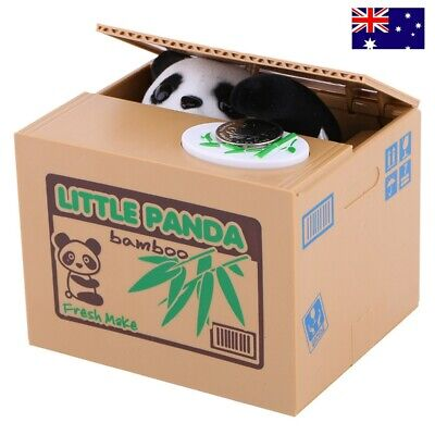 Funny Animal Panda Stealing Coin Penny Cents Piggy Bank Money Saving Box Gift AU