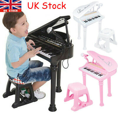Kids Electronic Musical Grand Piano Childrens Keyboard Toy Microphone Seat Stool