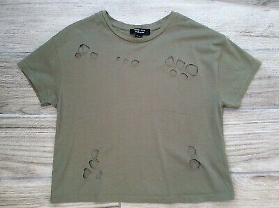 Girls Cropped Ripped Hole T Shirt 10/11 Years New Look Khaki Green
