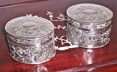 1900s. Really fine pair of Chinese silver boxes. Fine condition. Antique.