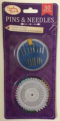 Pins & Needles For Sewing - Coloured Pin Heads + 30 Asst Needles In Dispenser