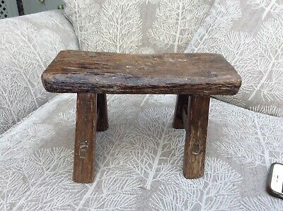 Vintage Primitive/Rustic Mortised Wooden Foot Stool Use As A Riser