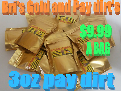 Paydirt 3oz. NATURAL GOLD NUGGETS AND FLAKES ADDED  BRI'S GOLD & PAY DIRT-$-FUN