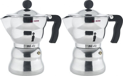 Alessi 6-Cup Moka Espresso Coffee Maker With Thermoplastic Resin Handle UK POST
