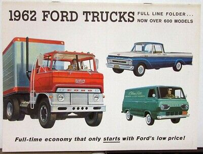 1962 Ford Truck Pickup Van Falcon Series F C B P T H Full Line Sales Brochur Rev
