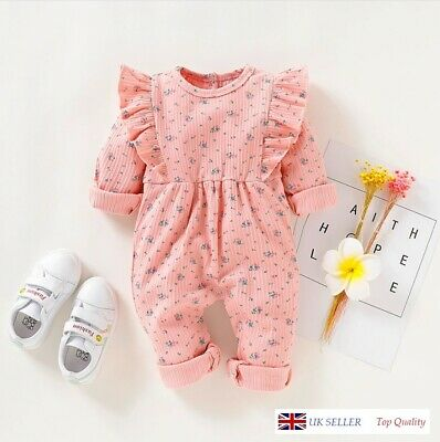 Baby girls, Babygrow Baby romper, floral, frilly UK Seller, Top Quality!!!