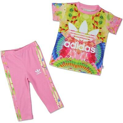 Adidas Kinder Feather Flower Trefoil Set 2-Teilig Mädchen Leggings T-Shirt  Rosa