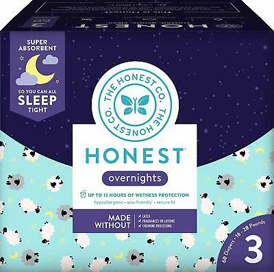 The Honest Company Club Box Overnight Baby Diapers Disposable, Size 3 (60 Count)