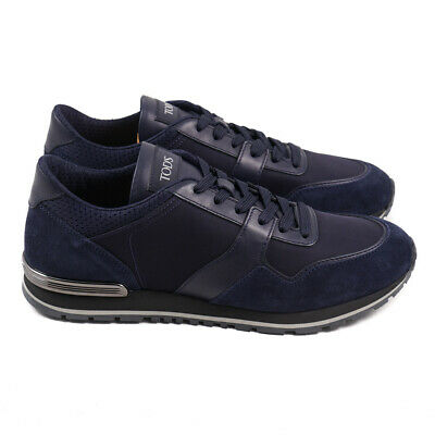 Shoes NIB $695 TOD/'S Navy Blue Leather and Scuba Effect Sneakers US 9.5 IT 8.5