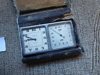 Finnigans   Antique 8 Day  Travel Clock Weather Station  Clock