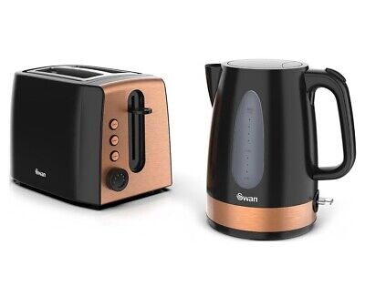 2 Slice Electric Toaster And Kettle Black & Copper Kitchen Breakfast Set Quality