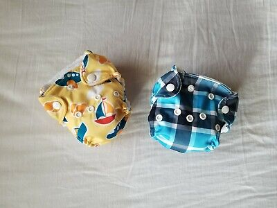 2 Infant Reusable Baby Cloth Fleece Soft Diaper Plaid, airplanes boys