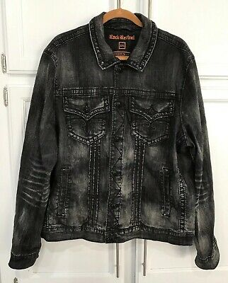 ROCK REVIVAL LUCIANO Denim Jacket Black Studded Distressed