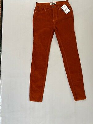 Free People Corduroy High Rise Skinny Pants Womens Chestnut Brown Frayed NEW 24