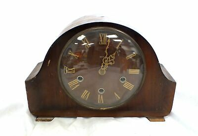 Vintage SMITHS Wind UP MANTLE CLOCK Mechanical Chimes 2 Jewels K7A Wooden - C16
