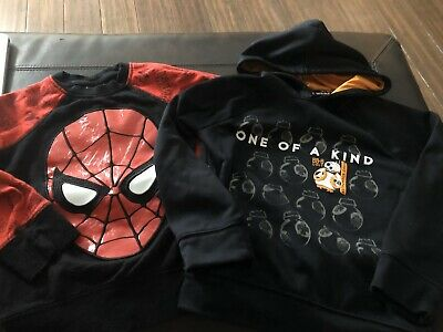 Boys Size 6 Sweatshirts Spiderman star wars EUC