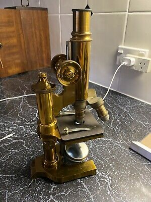 E Leitz. Wetzlar Microscope All Brass  Very old Antique