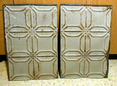 SALE 2 Antique Ceiling Tin Tile Simple & Elegant Pie Cupboard Doors Cottage Chic