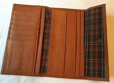 Vintage tan Leather purse / wallet with Tartan Lining