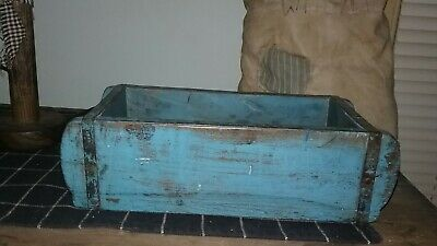 Antique Primitive Blue Wood Small Trench/ Brick Mold 11.5""