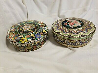 2 Vintage Round Embossed Floral Mosaic Design Made In Holland