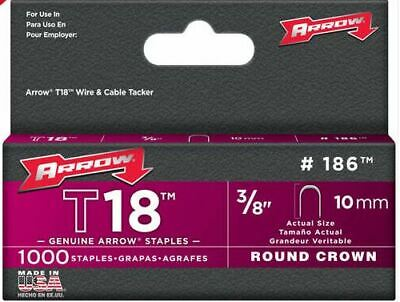 "Arrow A186 T18 3/8"" -10mm Round Crown Staples Pack 1000"