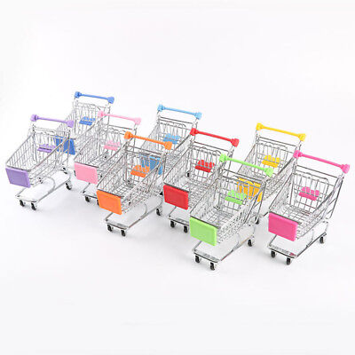 Supermarket Mini Metal Trolley Basket Kids Child Pretend Role Play Shopping Tool