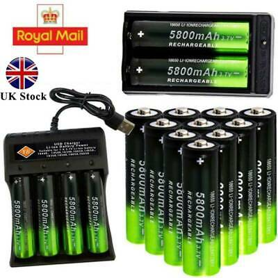 18650 3.7V 5800mAh BRC Rechargeable Li-ion Battery Lithium Cells Charger UK