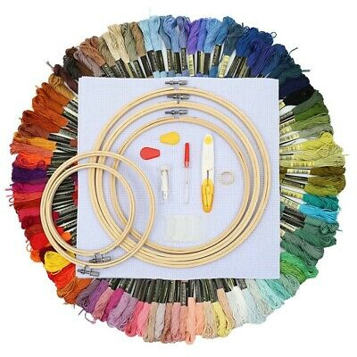 100 Colors Magic Embroidery Pen Needle Hoop Set Kit Thread Punch Stitching Z1L2