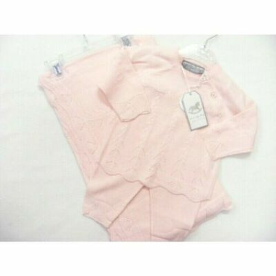 Baby girls knitted Spanish style outfit & shawl/blanket set pink 6-9 months BNWT