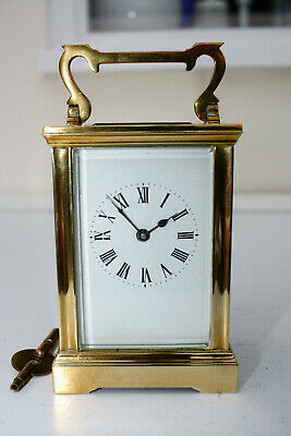 Vintage / Antique Brass 8 Day Carriage Clock With Key Gwo