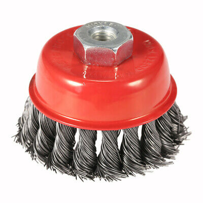 """75mm 3"""" Steel Wire Wheel Knotted Cup Brush Rotary Steel Brush Crimp Grinder G2F4"""