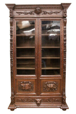 Lovely Antique French Hunt Bookcase, Oak, 19th Century, Great Carvings