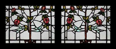 Rare Mackintosh Rose Tree Of Life With Bluebirds Antique Stained Glass Windows