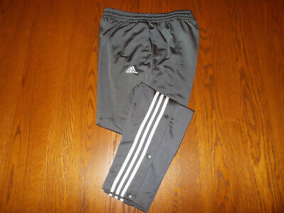 Adidas Gray Athletic Pants W/Snap Legs Mens Large Excellent Conditon