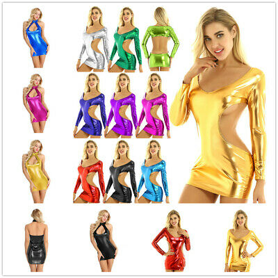 Womens Bodycon Backless Mini Dress Shiny Metallic Night Club Party Dance Costume