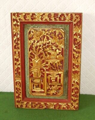 ANTIQUE CHINESE HAND CARVED WOODEN GILDED PANEL SUPERB URNS VASES FLOWERS c 1880