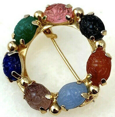 Vintage Scarab Brooch Egyptian Revival Jewelry Glass Cabochons