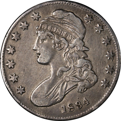 1834 Bust Half Dollar Small Date, Small Letters Nice XF 0-114 R.1 Nice Strike