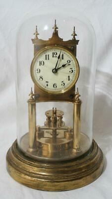 Antique Fabulous Gustav Becker Anniversary Clock with Disc Pendulum & Glass Dome