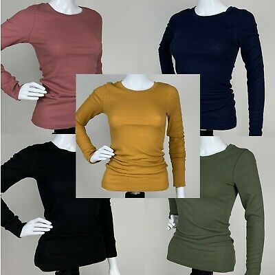 Womens Basic Solid Crew Neck Long Sleeve Thermal Top Shirt Sweater Pullover