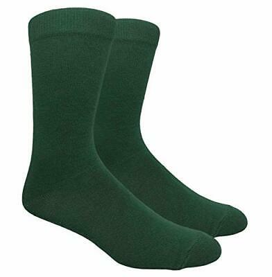 Novelty Fun Crew Print Socks for Dress or Casual (Solid Hunter Green #130HG)