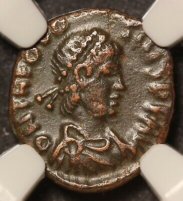 379-395 AD Eastern Roman Empire Theodosius I AE4 Nummus Ancient Coin - NGC Ch VF